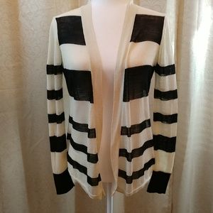 Loft Black and ivory stripe cardigan